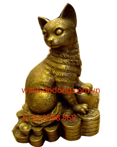 tượng mèo bằng đồng vàng