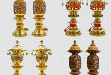Sản xuất đôi đèn thờ cắm điện trang trí bàn thờ đẹp
