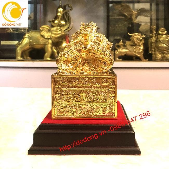 ấn quan lộc bằng đồng mạ vàng 9999 17cm2
