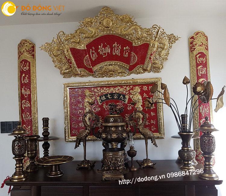 Bộ đồ thờ bằng đồng bày bàn thờ cửu huyền thất tổ0
