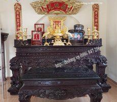 Bộ đồ thờ cúng gia tiên đồng mạ vàng cao cấp
