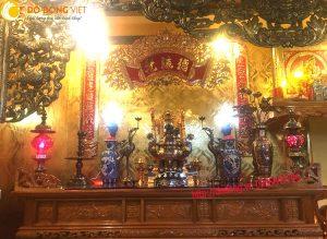 Bộ đỉnh đồng thờ ngũ sắc đẹp và tinh xảo 60cm