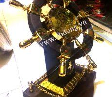 Bánh lái tàu thủy gỗ trắc,đồng mạ vàng 24k cao 60cm