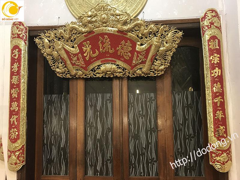 Bộ cuốn thư đồng vàng 135cm chữ hán dịch Việt0