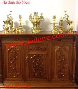 Bộ đồ thờ bằng đồng dapha vàng sáng đúc 3d 50cm