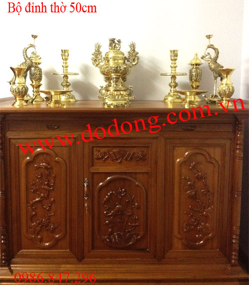 Bộ đồ thờ bằng đồng dapha vàng sáng đúc 3d 50cm0