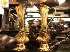 Đúc đôi lọ hoa đồng trang trí mạ vàng 60cm