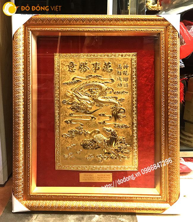 Tranh long mã bằng đồng mạ vàng phong thủy0