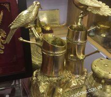 Tượng đồng đôi chim bên thân trúc đúc bằng đồng