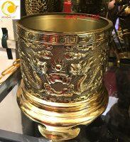 Bát hương đồng vàng song long trầu nguyệt dk 16cm