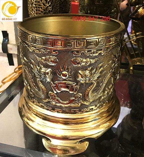 Bát hương đồng vàng song long trầu nguyệt dk 16cm0