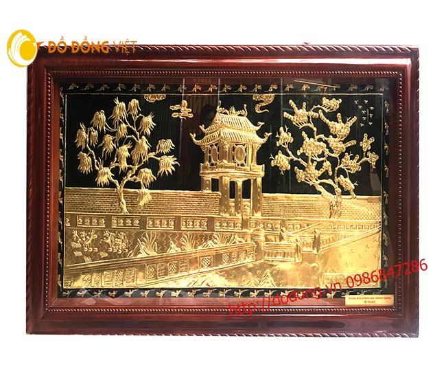 Tranh khuê văn các đồng dát vàng 24k khung gỗ tự nhiên 1mx2m0