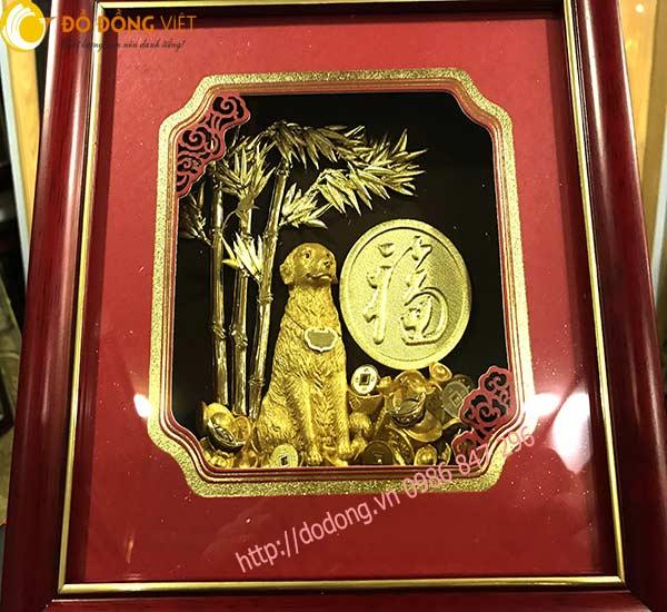 Tranh linh vật chào năm Mậu tuất 2018 dát vàng 24k0