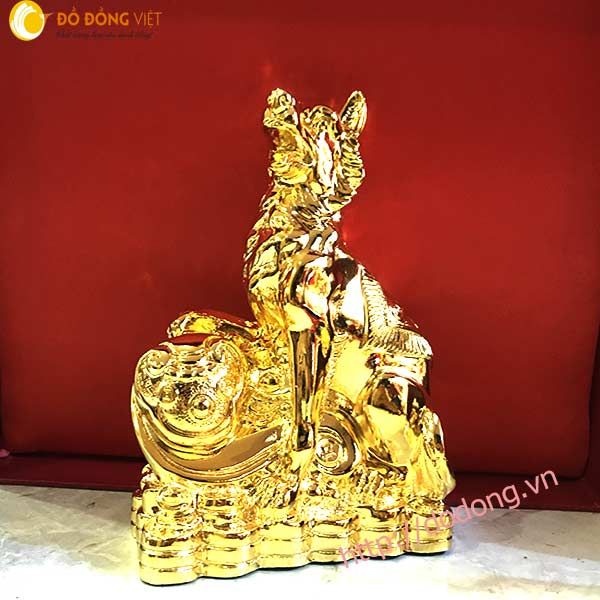 Tượng chó mạ vàng 24k cao 16cm quà tết 20180