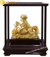 Tượng chó phong thủy bằng vàng lá 24k quà tết 2018