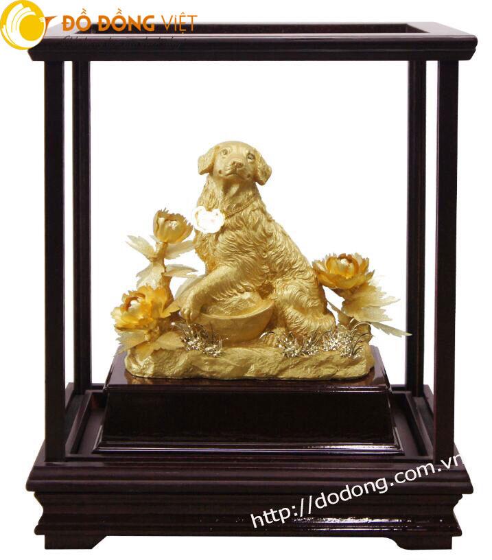 Tượng chó phong thủy bằng vàng lá 24k quà tết 20180