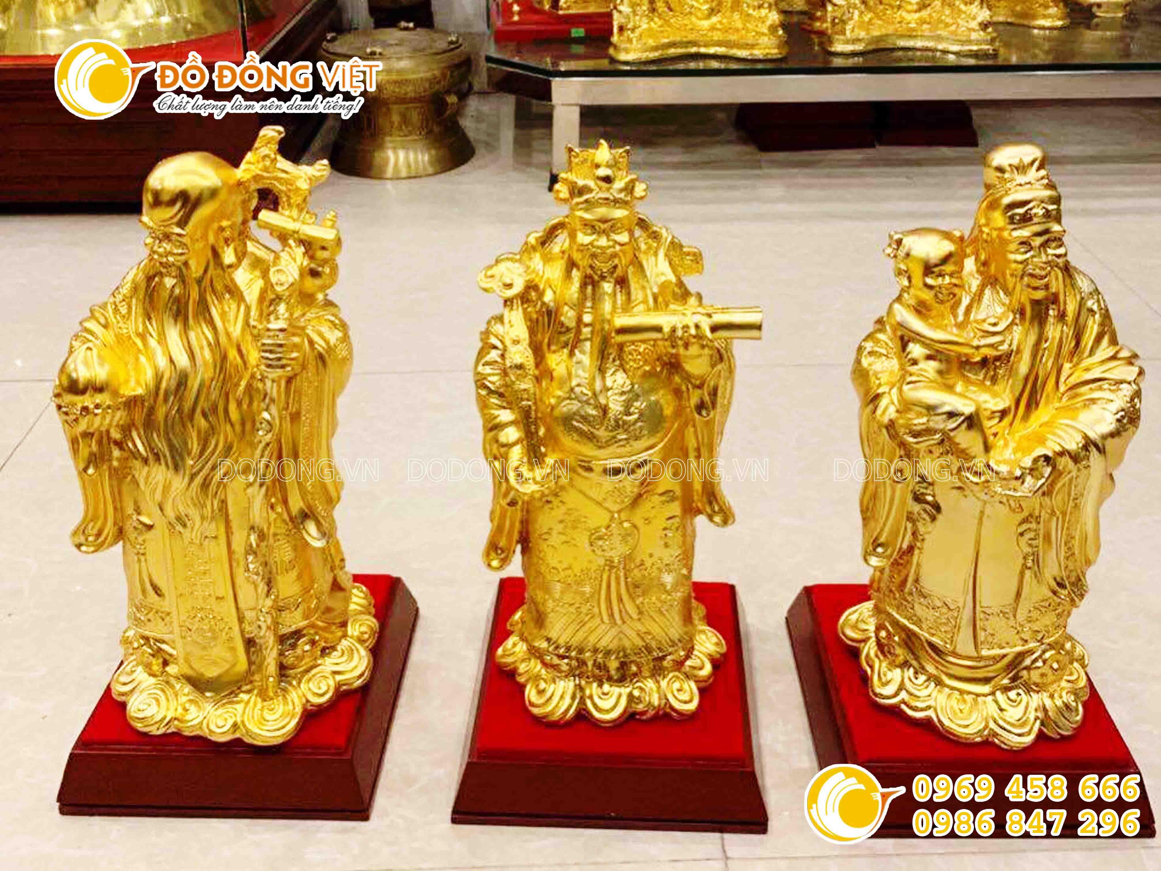 Tượng tam đa, tượng 3 ông tam đa bằng đồng mạ vàng0