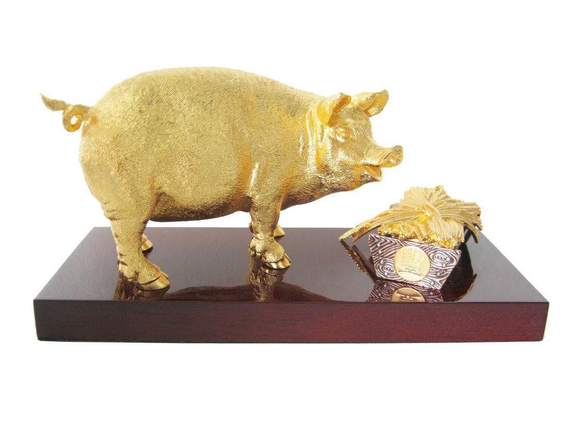 Tượng heo vàng phong thủy0