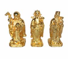 Bộ tượng tam đa bằng đồng dát vàng
