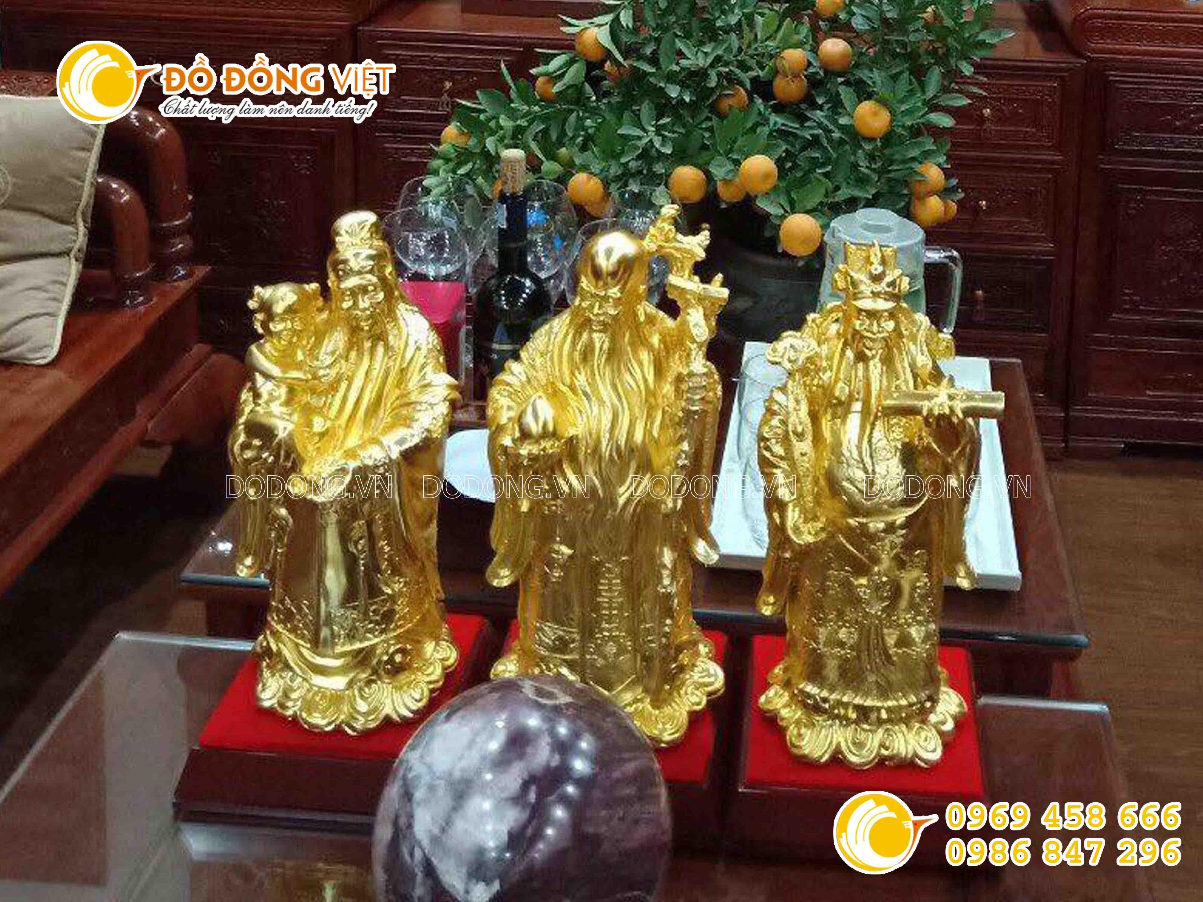 Bộ tượng tam đa dát vàng 38 cm0