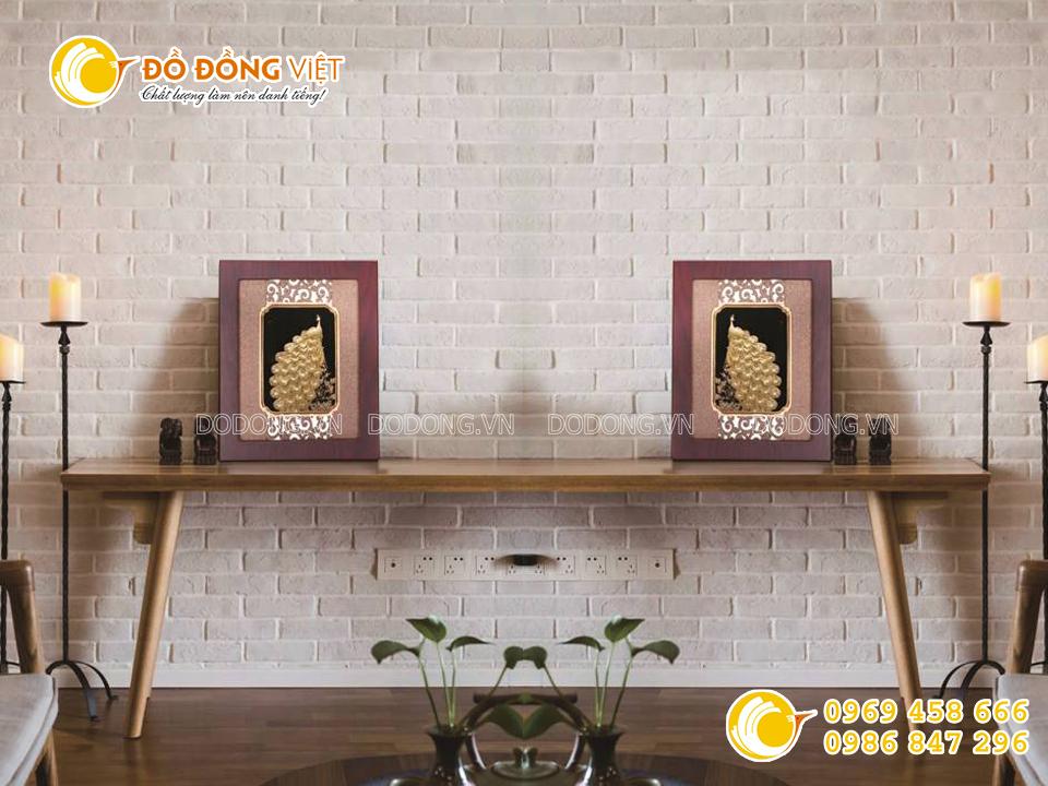 Tranh chim công bằng vàng lá 3d- quà cưới ý nghĩa0