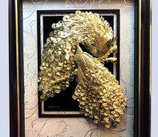 Tranh vinh hoa phú quý bằng vàng 24k 80×120 cm