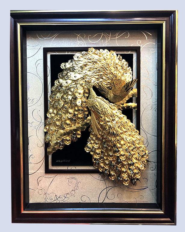 Tranh vinh hoa phú quý bằng vàng 24k 80×120 cm0