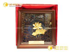 Tranh hoa sen dát vàng lá 3D