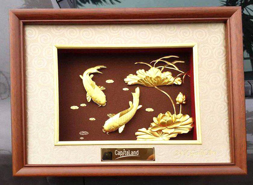 Tranh dát vàng 24k cá chép hoa sen 27×34 cm0