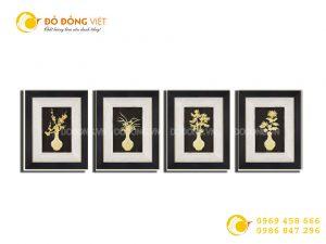 Quà tặng khách VIP- Bộ tranh tứ quý bằng vàng lá 3D