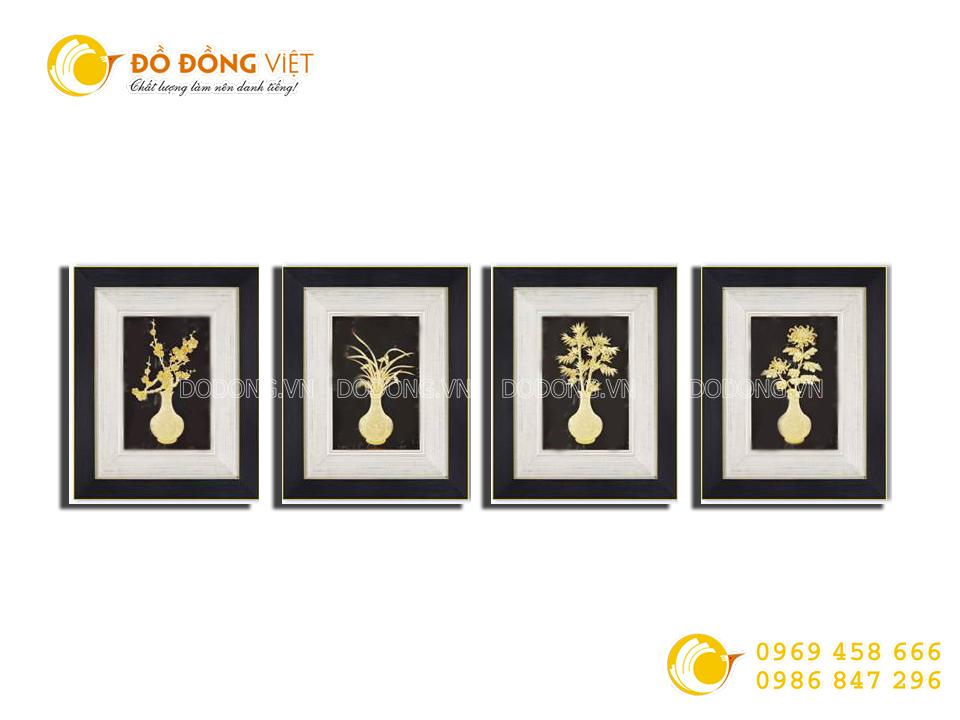 Quà tặng khách VIP- Bộ tranh tứ quý bằng vàng lá 3D0