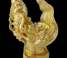 Mô hình đầu rồng mạ vàng 24k