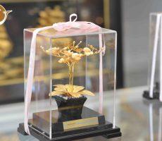 Biểu trưng hoa lan bằng đồng mạ vàng 24k, quà tặng 20-10