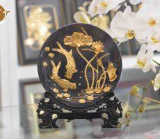 Đĩa tranh cá chép hoa sen mạ vàng 24k- quà tặng 20-10