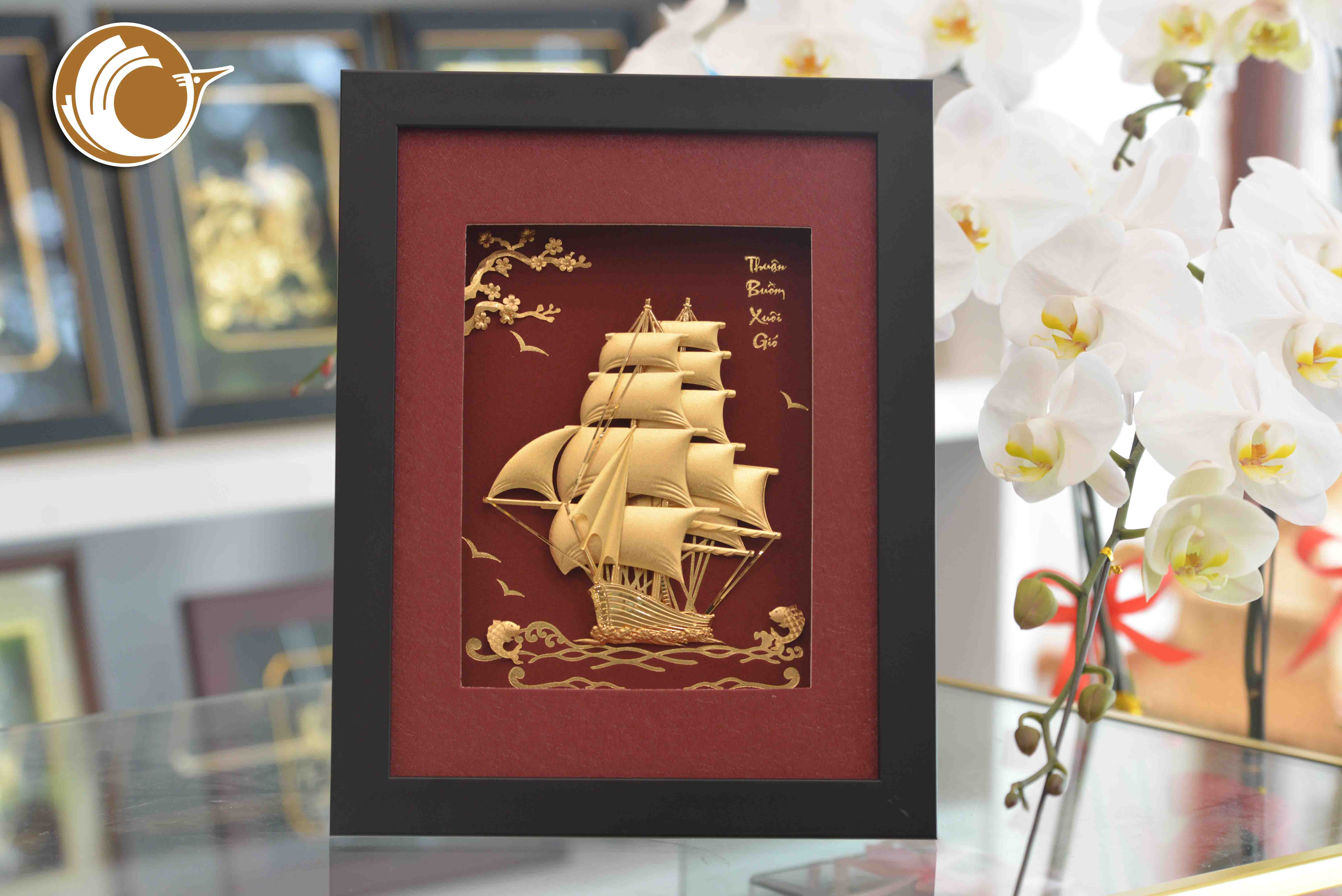 Quà tặng tranh thuyền buồm vàng lá 24k- quà tặng tân gia0