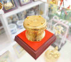 Trống đồng mạ vàng 24k đường kính 8cm, trống đồng lưu niệm thu nhỏ