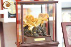 Biểu trưng chim hạc bằng đồng mạ vàng, đồ đồng quà tặng mạ vàng