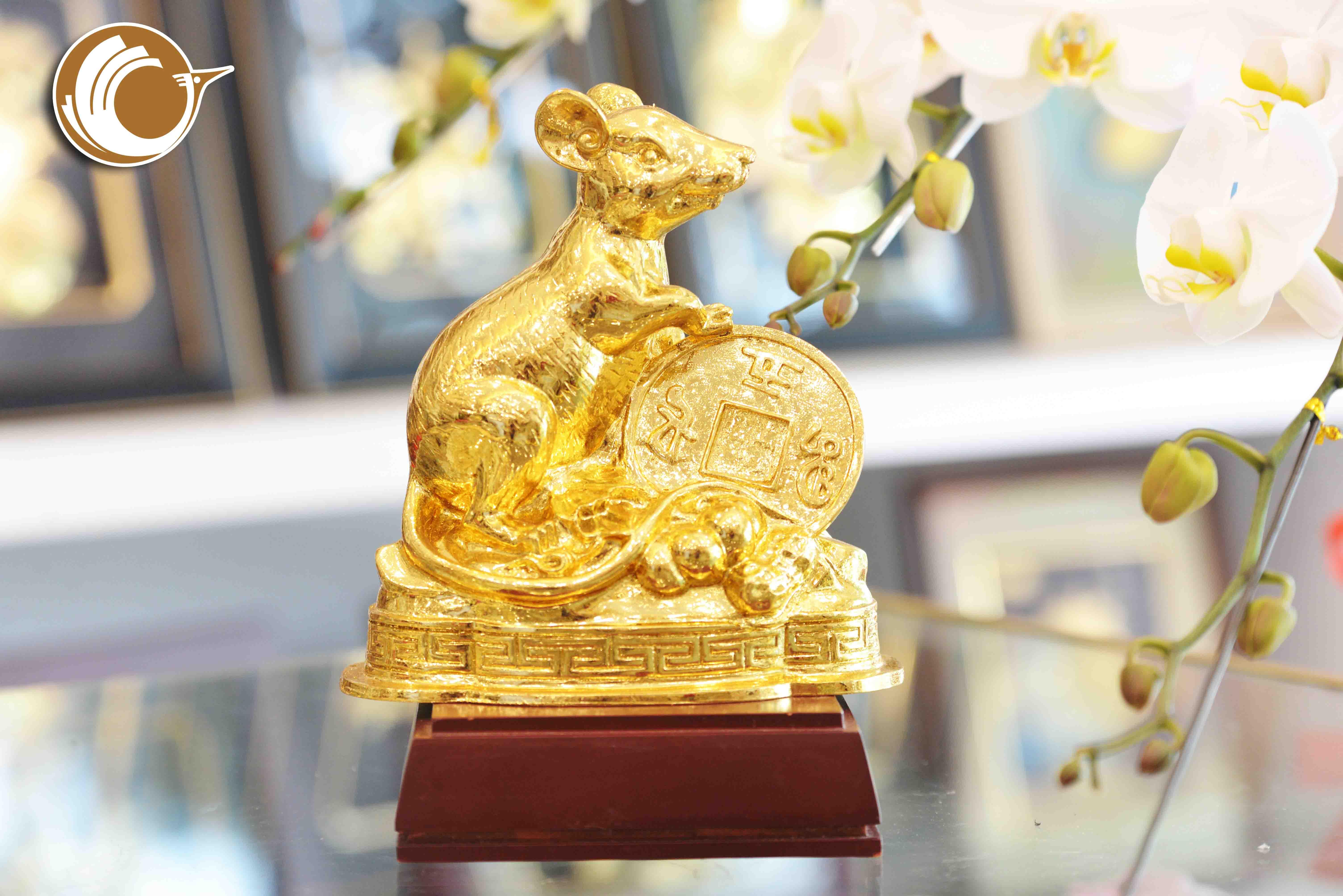 Quà tặng phong thủy- tượng chuột phong thủy mạ vàng 24k0