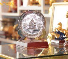 Đĩa đồng Hồ Gươm mạ bạc- quà tặng văn hóa Việt Nam