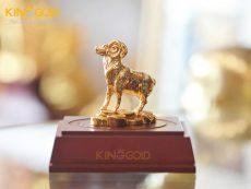 Quà tặng linh vật phong thủy tượng dê bằng đồng mạ vàng 24k