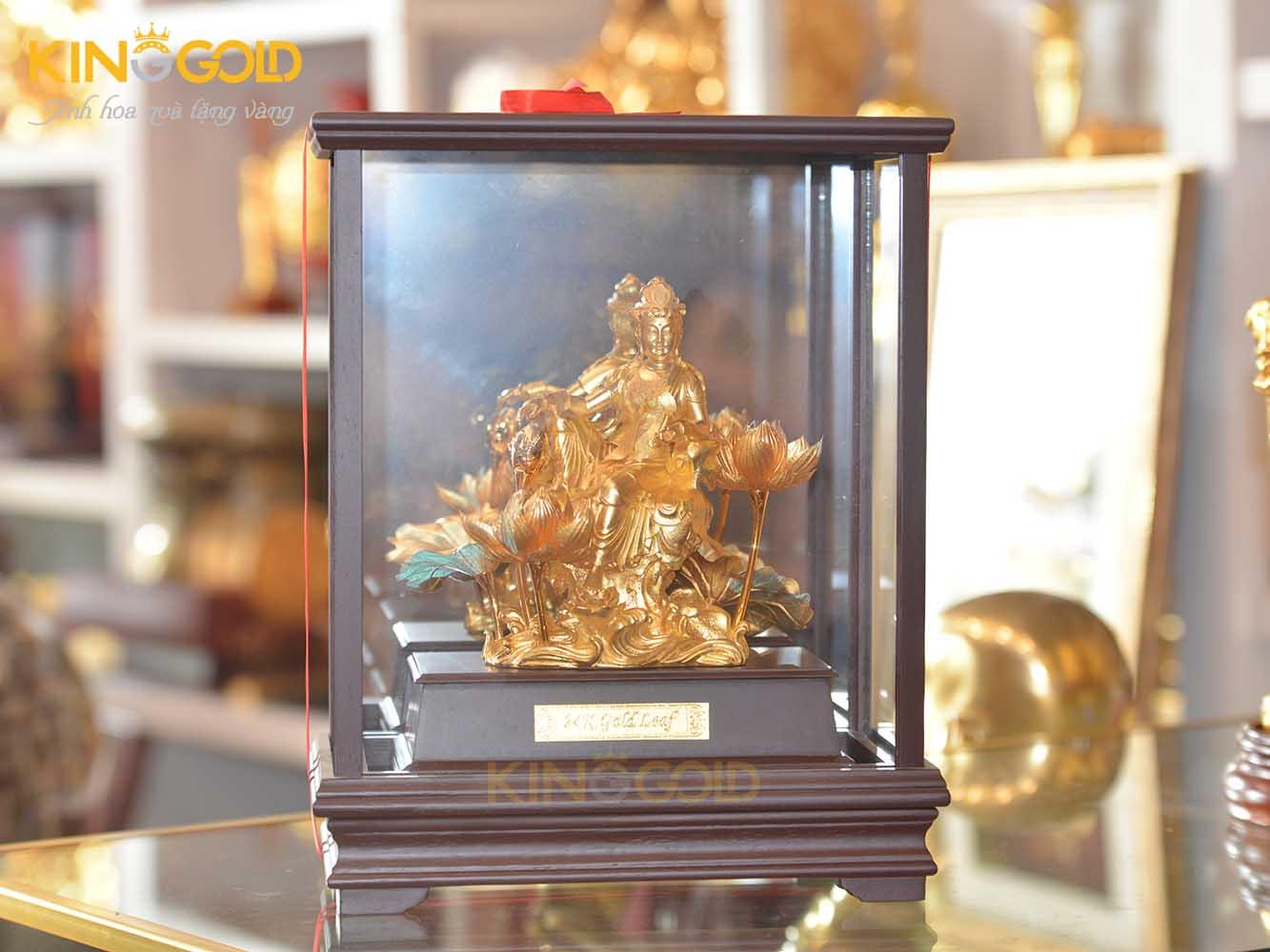 Tượng văn thù bồ tát mạ vàng 24k- tượng đồng tâm linh0