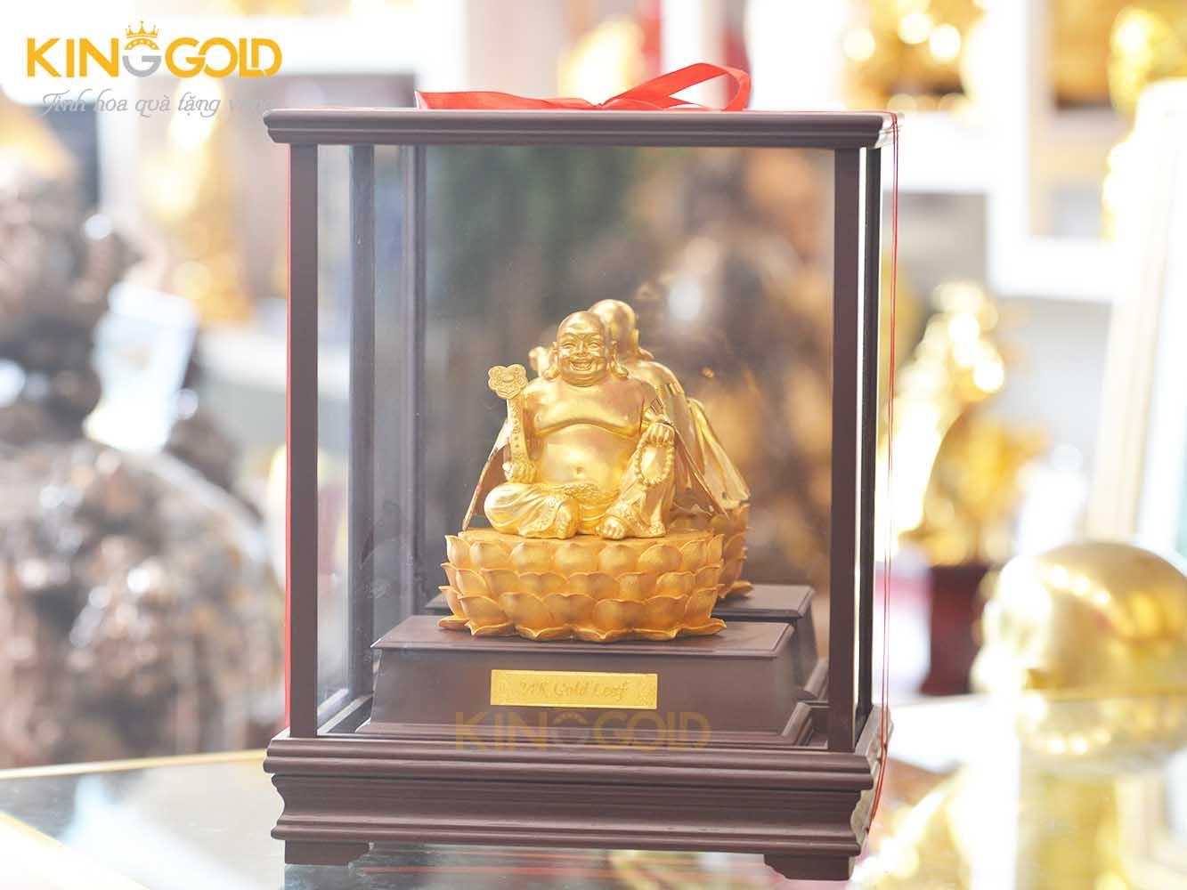 Đồ đồng Việt đúc tượng Phật Di Lặc ngồi đài sen mạ vàng0