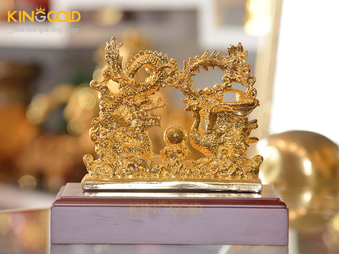 Tượng rồng phượng bằng đồng mạ vàng làm quà cưới ý nghĩa0