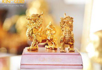 Quà tặng tượng đồng tỳ hưu mạ vàng, tượng linh vật phong thủy