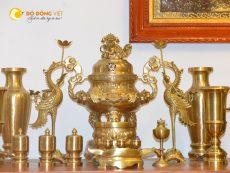 Bộ đỉnh đồng thờ cúng đầy đủ cho bàn thờ gia tiên kích thước 60cm