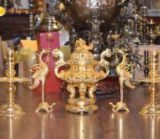 Đỉnh đồng thờ cúng dát vàng 24k cao 60cm