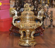 Lư đồng đỉnh đồng thờ cúng mạ vàng cao 70cm