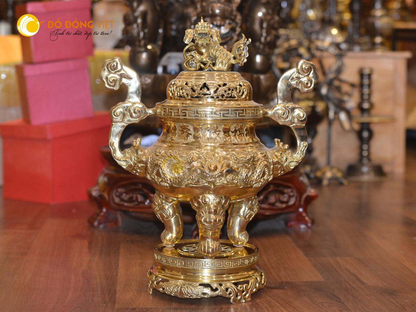 Lư đồng đỉnh đồng thờ cúng mạ vàng cao 70cm0