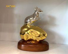 Tượng Linh Vật Chuột Bằng Đồng Dát Bạc Vàng