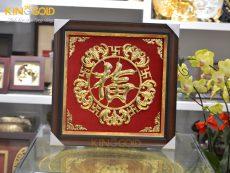 Quà tặng tranh chữ Phúc bằng đồng mạ vàng 24k